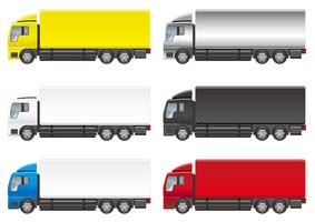 Set of six heavy trucks isolated on a white background.