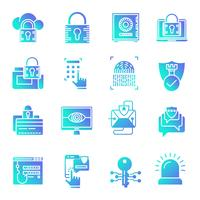 Security gradient icons set