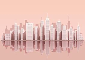 Cityscape with skyscrapers, vector illustration.