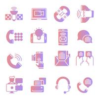 Communication gradient icons set