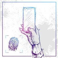 Illustration of Hand holding a phone and do finger print