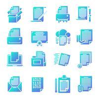Conjunto de iconos de gradiente de documento vector