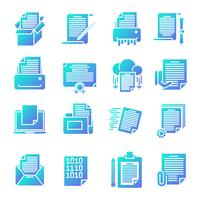 Document gradient icons set vector