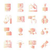 Conjunto de iconos gradiente de educación vector