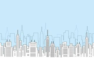 Seamless cityscape drawing with skyscrapers.