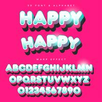 3D Rounded Stylized Lettering Text, Font & Alphabet vector