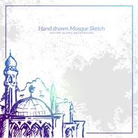Hand Drawn Mosque Sketch Illustration. Vector Islamic Grunge Background