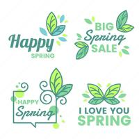 Spring Retro Vintage Vector Label