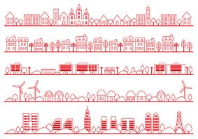 Simple townscape drawing set, vector illustration.