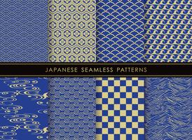 Set of Japanese traditional, seamless patterns. vector