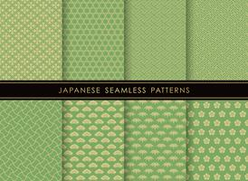 Set of Japanese traditional, seamless patterns.