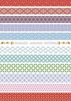 Set of Japanese traditional, seamless patterns vector