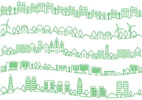 Seamless townscape line drawing set.