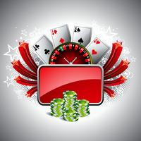 Vector illustration on a casino theme with roulette whell, playing cards and poker chips.