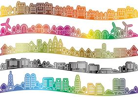 Naadloze townscape set, vector illustratie.