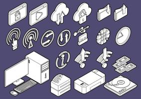illustration of info graphic computer icons set concept