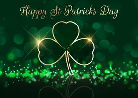 St Patrick's Day background with shamrock on bokeh lights