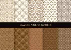 Set of damask vintage seamless patterns.