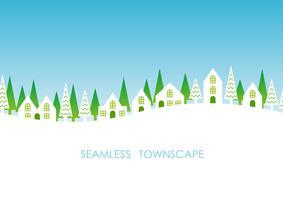 Townscape senza soluzione di continuità, illustrazione vettoriale.