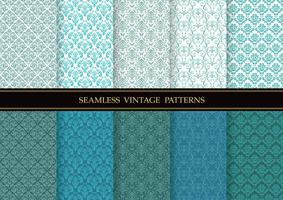 Set of damask vintage seamless patterns