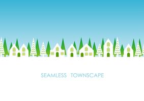 Seamless townscape, vector illustration.