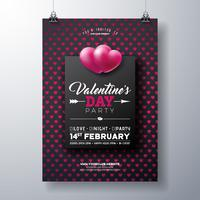 Valentine's Day Party Flyer with Red Heart Pattern