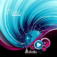 Vector music illustration with speakers and disco ball on grunge background.