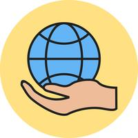 Global hand line filled icon