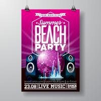 Vector Party Flyer Design con elementi musicali su viola