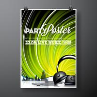 Vector Party Flyer Design con elementos musicales.