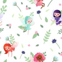 Vector seamless pattern with pretty little  fairies.