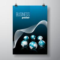 Business Flyer illustration with globes  vector
