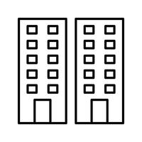 Offices building line black icon