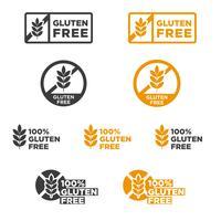 Conjunto de iconos sin gluten.
