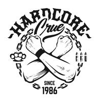 hardcore emblem vektor konst