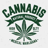 Emblème Cannabis Grunge