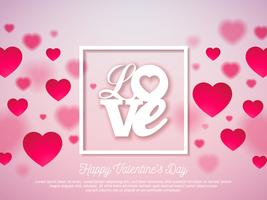 Valentines Day Design with Red Heart and Love