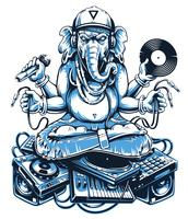 Ganesha Music Vector Art