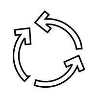 Icône de cycle ligne noire flèche