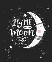 Fly me to the moon poster. vector