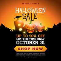 Boo, Halloween Sale banner illustration