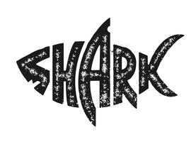 Grunge Shark Logo Design Vector