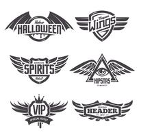 Emblems with Wings Set vector