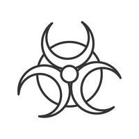 Icono de línea de peligro biológico negro