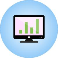 Analytics on screen flat multi color gradient icon
