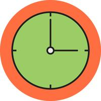 Clock line filled icon vector