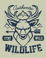Diseño de emblema del grunge de la mascota de los ciervos
