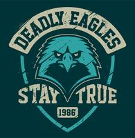 Plantilla de emblema de grunge de mascota de águila