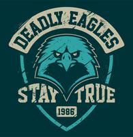 Modèle d'emblème grunge de mascotte Eagle