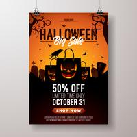 Halloween Sale vector flyer illustration